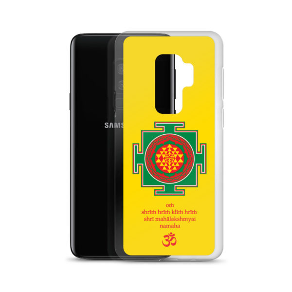 Samsung S9+ phone case with Shree yantra and Lakshmi mantra Om Shreem Hriim Kliim Hriim Shrii Mahaa Lakshmyai Namaha and Om symbol