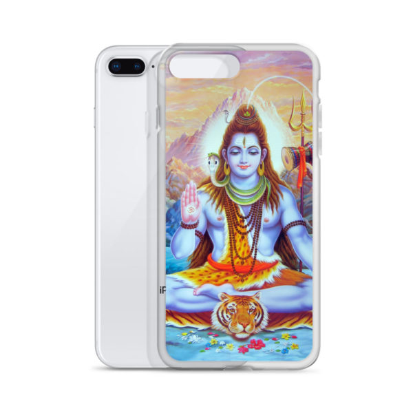 iPhone case with Shiva sitting on a tiger skin, snake around his neck, ganga flowing from his hair, decorated with rudraksha rosaries, trident and mountains behind him, hand with Om symbol held in benediction