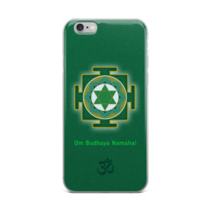 iPhone case with Budha (Mercury) yantra and Budha mantra Om Budhaya Namaha! and Om symbol