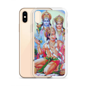 iPhone case with big Hanuman in front with Rama and Sita standing in the background. Mantra Jaya Shree Raama is written on paper laying before Hanuman.
