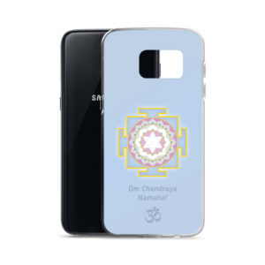 Samsung S7 phone cover with Chandra mantra Om Chandraya Namaha and yantra and Om symbol