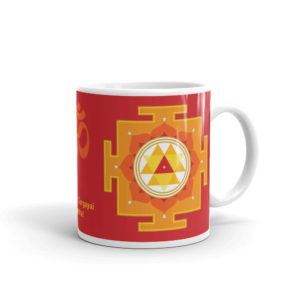 Mug with Durga yantra, handle on right, 11oz