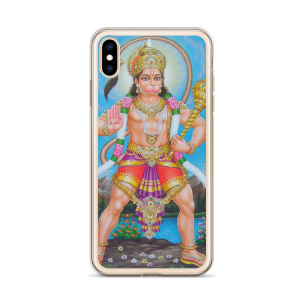 iPhone case with gigantic Hanuman holding mace with tail above his head. Mantra Shree Rama is written on his hand.