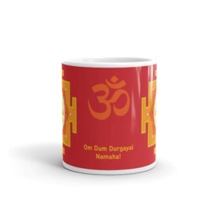 Mug with Durga mantra Om Dum Durgayai namaha and Om symbol and two Durga yantras, 11oz