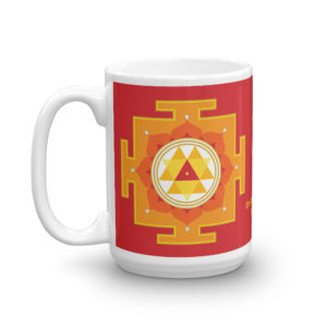 Mug with Durga yantra, handle on left, 15oz