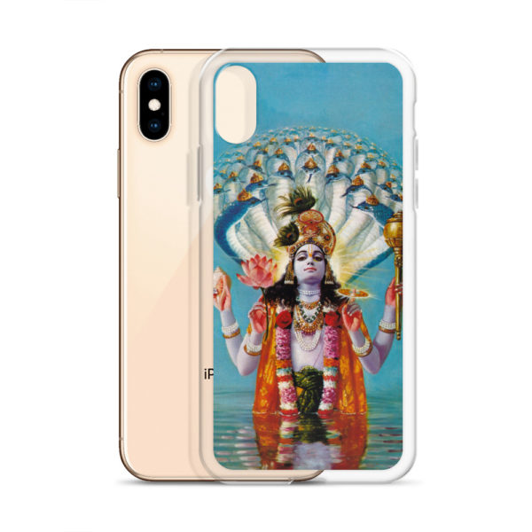 iPhone case with beautiful Vishnu Narayana with snakes behind his back standing in water, holding conchshell, discus, mace and lotus
