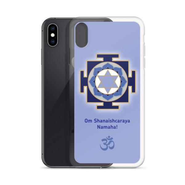 iPhone case with Shani (Saturn) yantra and Shukra mantra Om Shanaishcaraya Namaha and Om symbol