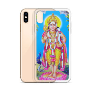 iPhone case with Skanda, Muruga or Shanmukha standing on pink lotus, holding mace, with peacock and cobra in the background
