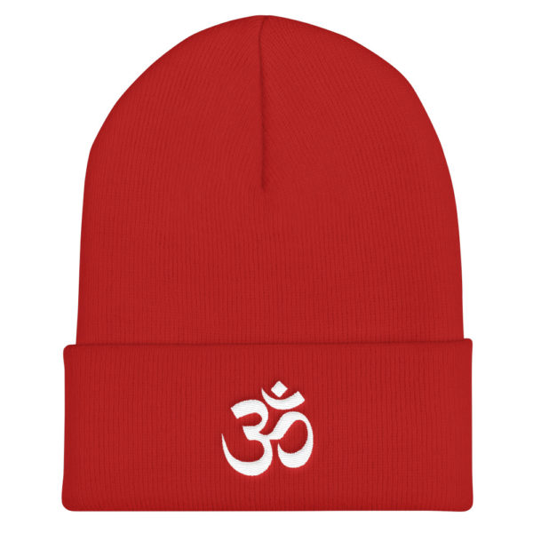 red winter hat with beautifully embroidered white Om sign