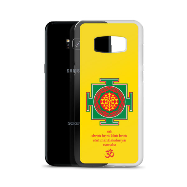 Samsung S8 phone case with Shree yantra and Lakshmi mantra Om Shreem Hriim Kliim Hriim Shrii Mahaa Lakshmyai Namaha and Om symbol