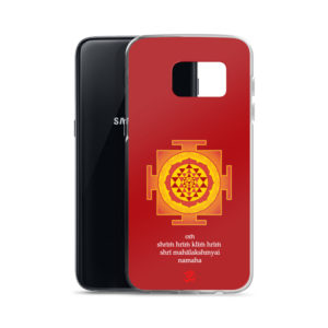 Samsung S7 phone case with Shree yantra and Lakshmi mantra Om Shreem Hriim Kliim Hriim Shrii Mahaa Lakshmyai Namaha and Om symbol