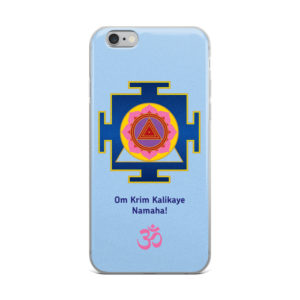iPhone case with Kali yantra and Kali mantra Om Krim Kalikaye Namaha! and Om symbol