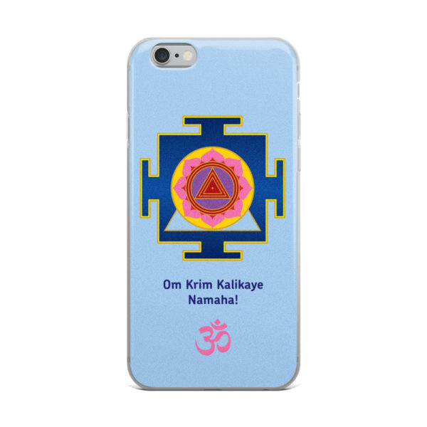 iPhone case with Kali yantra and Kali mantra Om Krim Kalikaye Namaha! and Om symbol