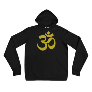 black hoodie with golden Om sign
