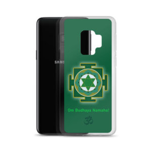 Samsung S9 phone case with Budha yantra and Budha mantra Om Budhaya Namaha and Om symbol