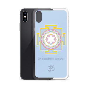 iPhone case with Shandra (Moon) yantra and Chandra mantra Om Chandraya Namaha! and Om symbol