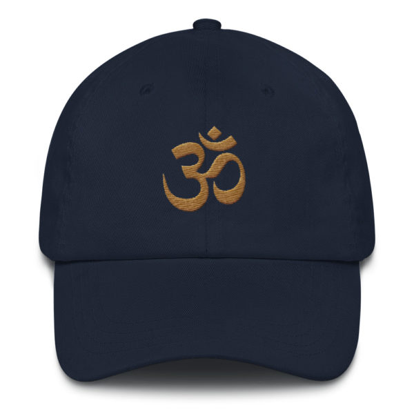 dark blue baseball cap with embroidered golden Om sign