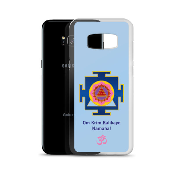 Samsung S8 phone cover with Kali mantra Om Krim Kalikaye Namaha and yantra and Om symbol