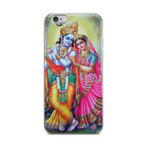 iPhone case with Shree Raadha and Krisna (RadhaKrishna) standing in forest. Krishna ir playing flute and has three peacock feathers above his head.