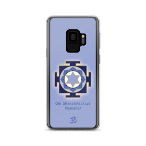 Samsung S9 phone case with Shani (Saturn) yantra and Shani mantra Om Shanaishcaraya Namaha and Om symbol