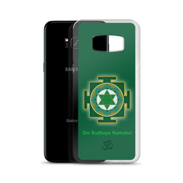 Samsung S8+ phone cover with Budha mantra Om Budhaya Namaha and yantra and Om symbol