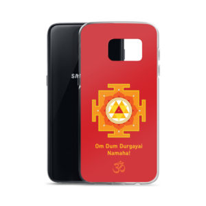 Samsung S7 phone cover with Durga mantra Om Dum Durgayai Namaha and yantra and Om symbol