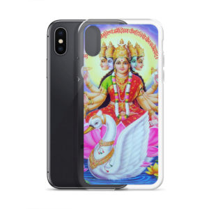 iPhone case with Gayatri devi with five faces sitting on a swan with gayatri mantra in sanskrit written above her head. Om bhur bhuvah svah tat savitur varenyam bhargo devasya dhemahi dhiyo yo nah pracodayat.