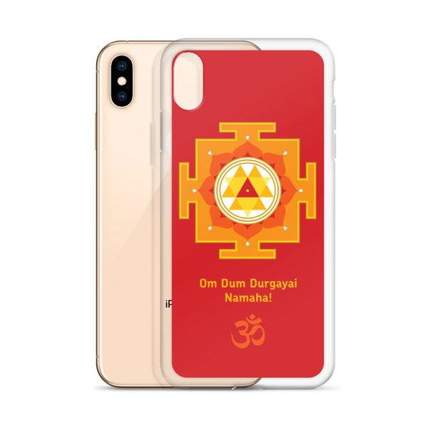 iPhone case with Durga yantra and Durga mantra Om Durgayai Namaha and Om symbol