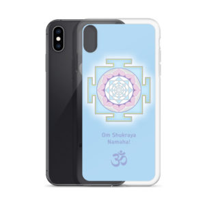 iPhone case with Shukra (Venus) yantra and Shukra mantra Om Shukraya Namaha and Om symbol