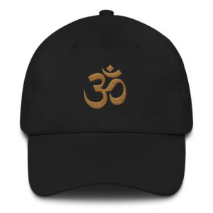 black baseball cap with embroidered golden Om sign