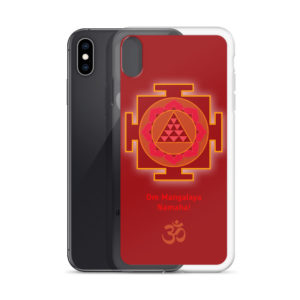 iPhone case with Mangala (Kuja, Mars) yantra and Mangala mantra Om Mangalaya Namaha! and Om symbol