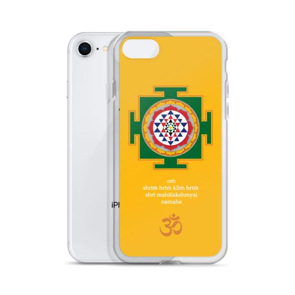 iPhone case with Shree yantra and Lakshmi mantra Om Shreem Hriim Kliim Hriim Shrii Mahaa Lakshmyai Namaha and Om symbol