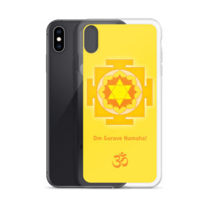 iPhone case with Guru (Brihaspati, Jupiter) yantra and Guru mantra Om Gurave Namaha and Om symbol