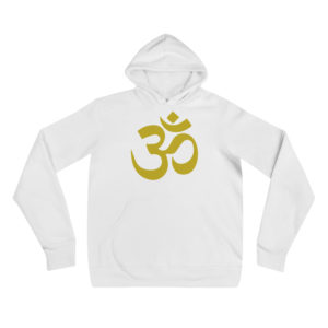 white hoodie with golden Om sign