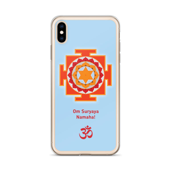 iPhone case with Surya (Sun) yantra and Sun mantra Om Suryaya Namaha and Om symbol