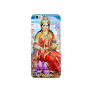 iPhone case with Laksmi devi (deity of wealth, prosperity and good fortune) sitting on a purple lotus, holding two lotus flowers, a pot with mango leaves and a coconut, with money sprinkling from her hand held in the mudra of benediction