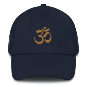 dark blue cap with embroidered golden Om sign