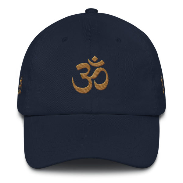 dark blue cap with embroidered golden Om sign
