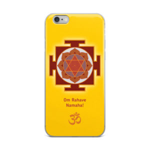 iPhone case with Rahu yantra and Rahu mantra Om Rahave Namaha and Om symbol