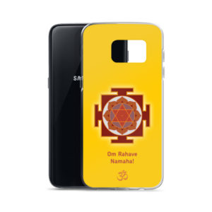 Samsung S7 phone case with Rahu yantra and Rahu mantra Om Rahave Namaha yantra and Om symbol