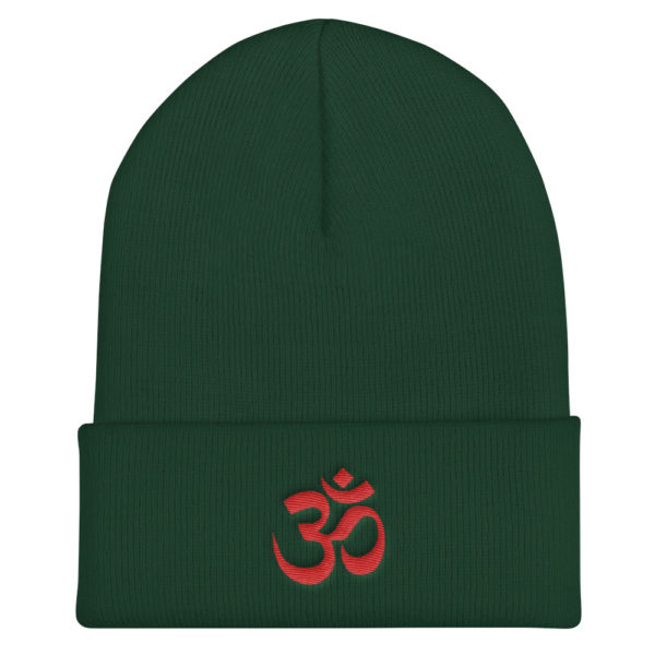 green winter hat with beautifully embroidered red Om sign