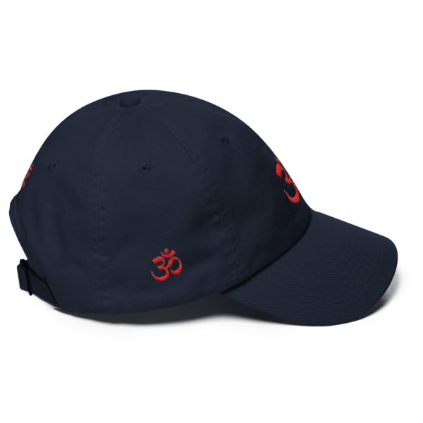 dark blue baseball cap with embroidered red Om sign