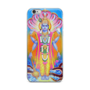 iPhone case with Vishnu Narayana with snakes, holding conchshell, discus, mace and lotus