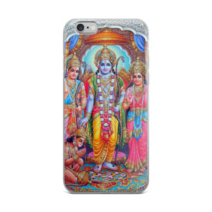 iPhone case with Rama, Sita, Lakshmana and Hanuman bowing down before them