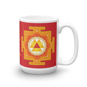 Mug with Durga yantra, handle on right, 15oz