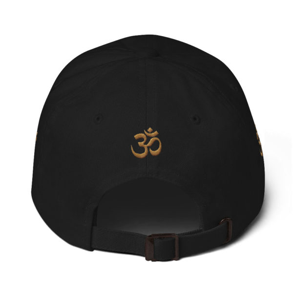 black cap with embroidered golden Om sign
