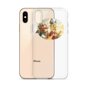 iPhone case with Krishna and Arjuna blowing their conchshells Pancajanya and Devadatta before the battle of Kurukshetra