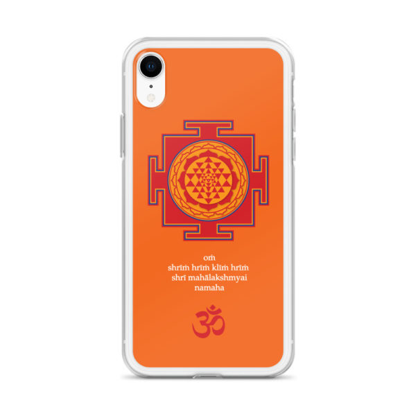 iPhone case with Shree yantra and Lakshmi mantra Om Shreem Hriim Kliim Hriim Shrii Mahaa Lakshmyai Namaha and Om symbol