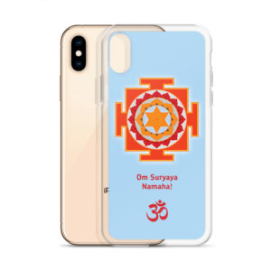 iPhone case with Surya (Sun) yantra and Sun mantra Om Suryaya Namaha and Om symbol