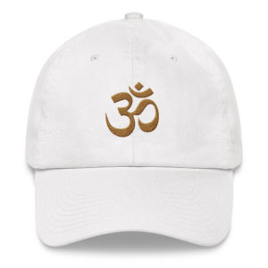 white baseball cap with embroidered golden Om sign